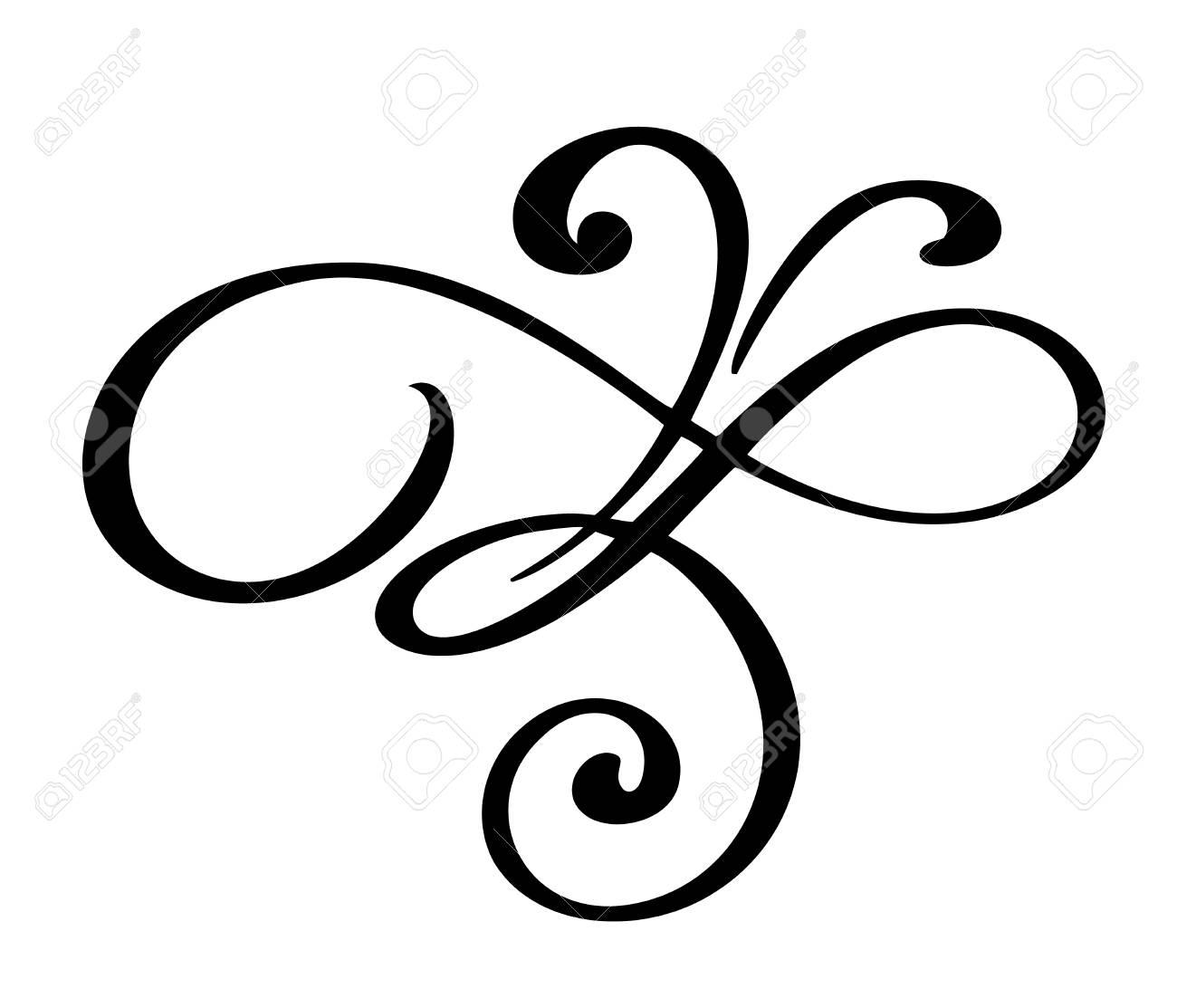 hand drawn flourish calligraphy elements vector illustration rh 123rf com flourish vector art flourish vector free