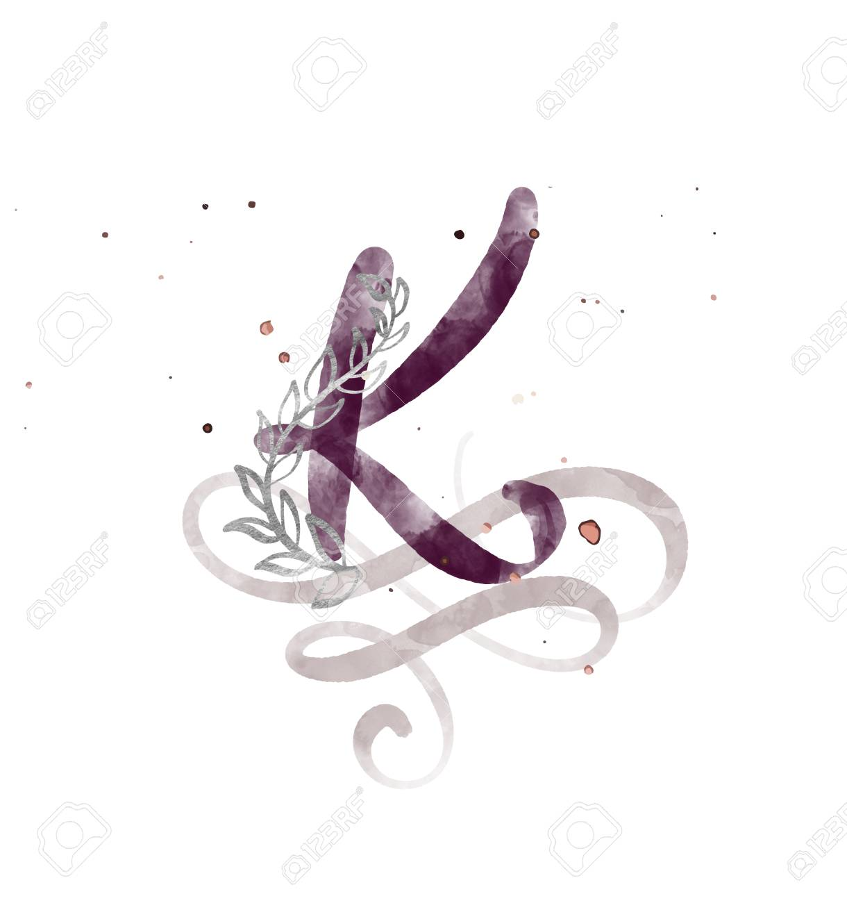 Hand Drawn Calligraphy Letter K Watercolor Script Font Isolated