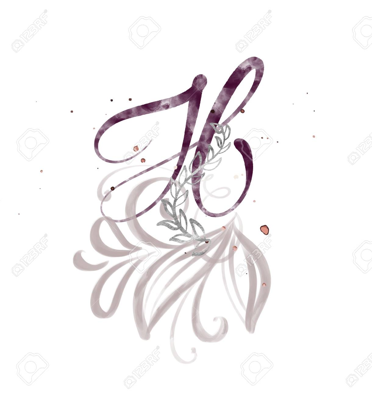 Hand Drawn Calligraphy Letter H Watercolor Script Font Isolated Letters Written With Ink