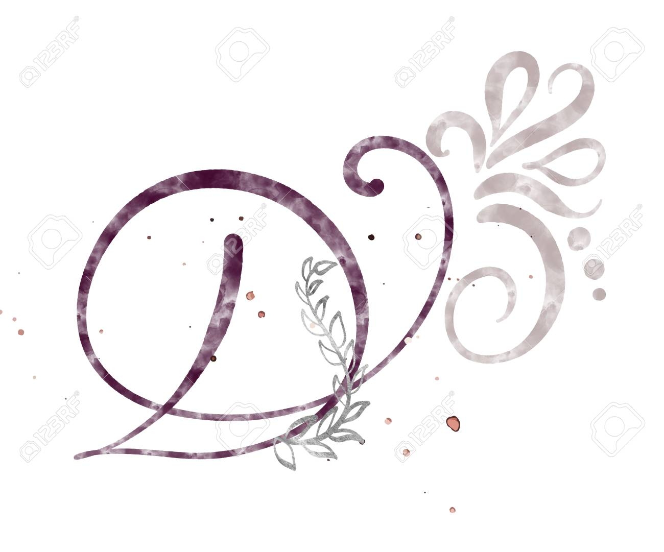 hand drawn calligraphy letter d watercolor script font isolated