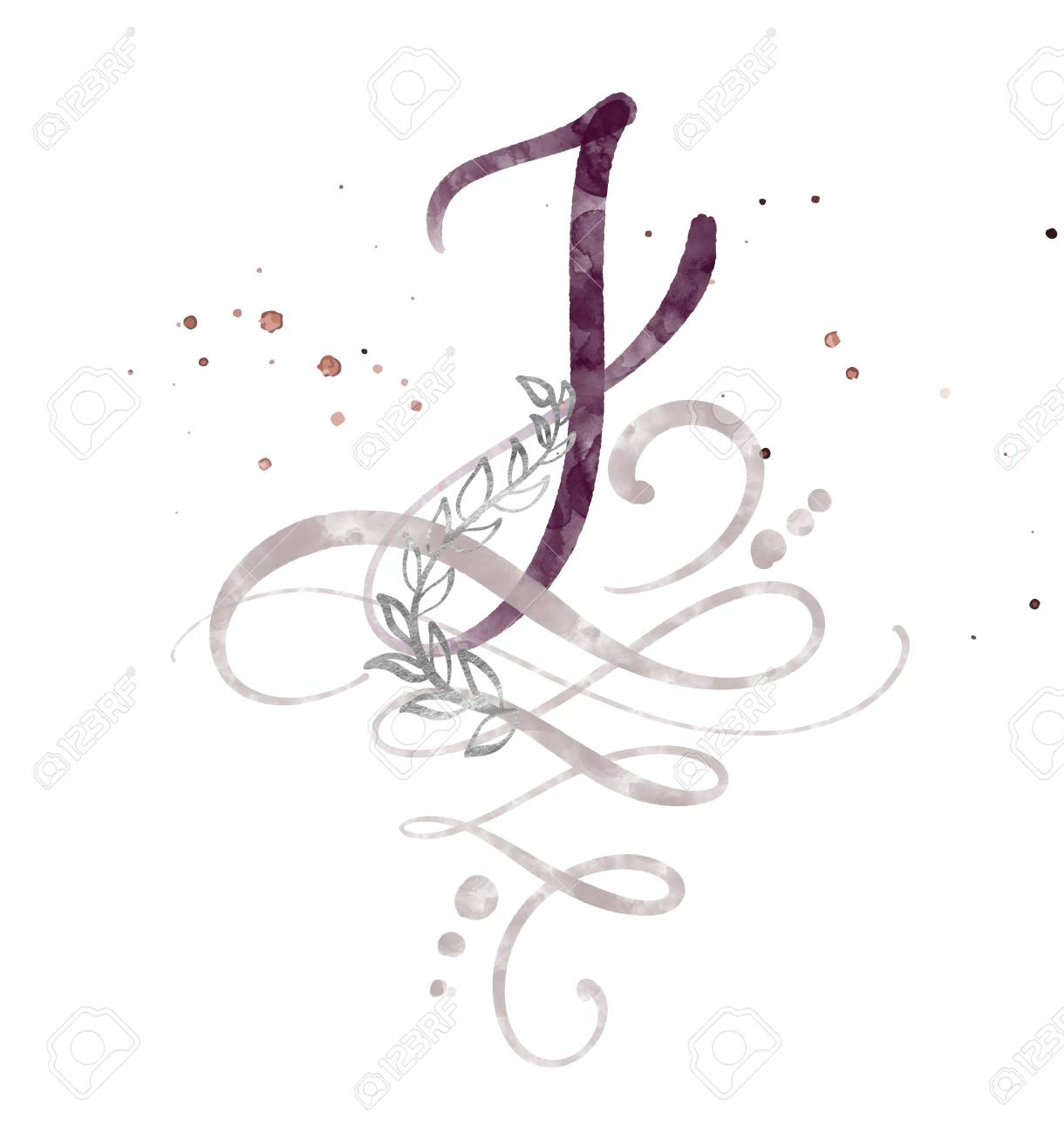 Hand Drawn Calligraphy Letter J. Watercolor Script Font. Isolated
