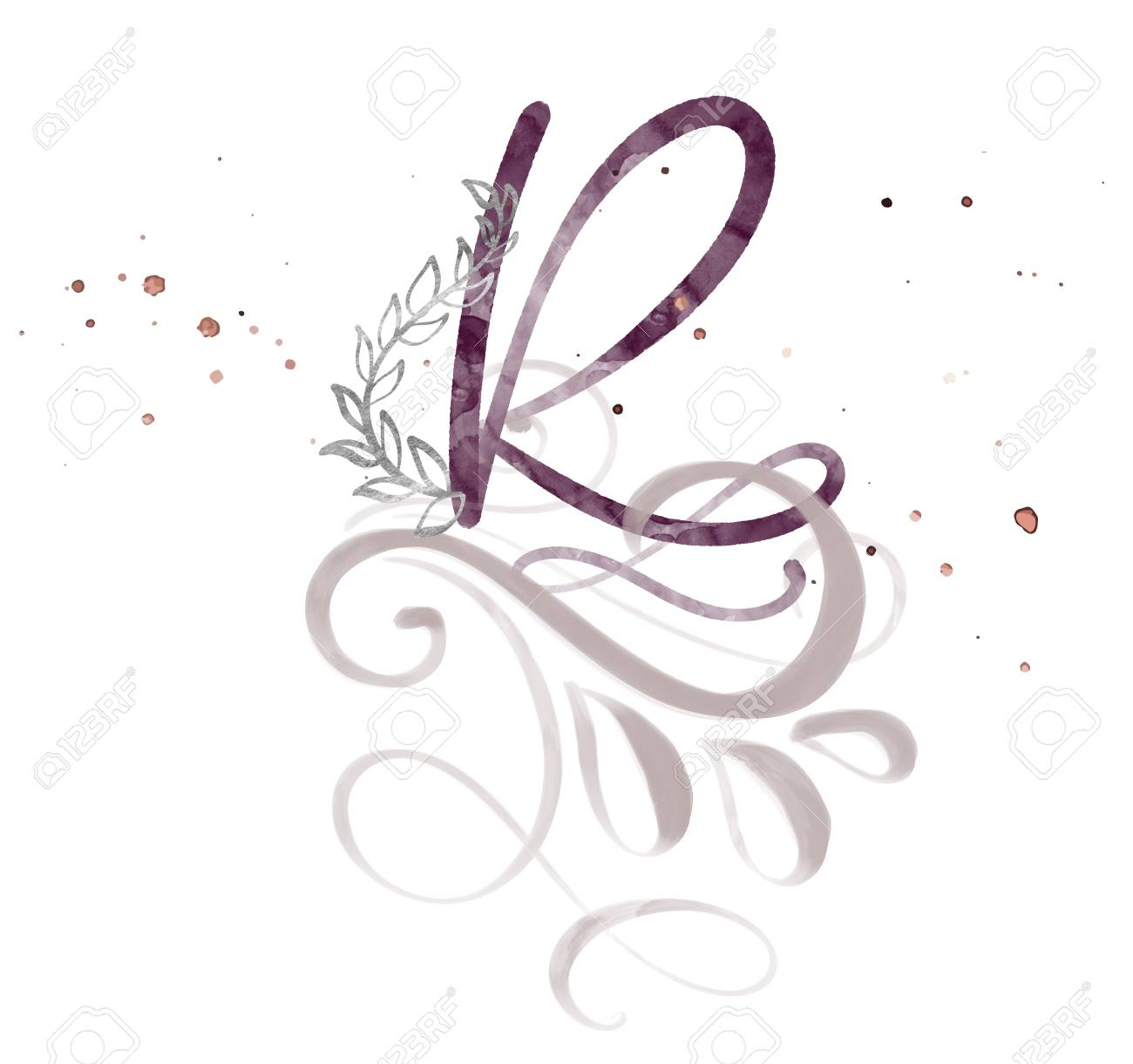 Hand Drawn Calligraphy Letter R. Watercolor Script Font. Isolated