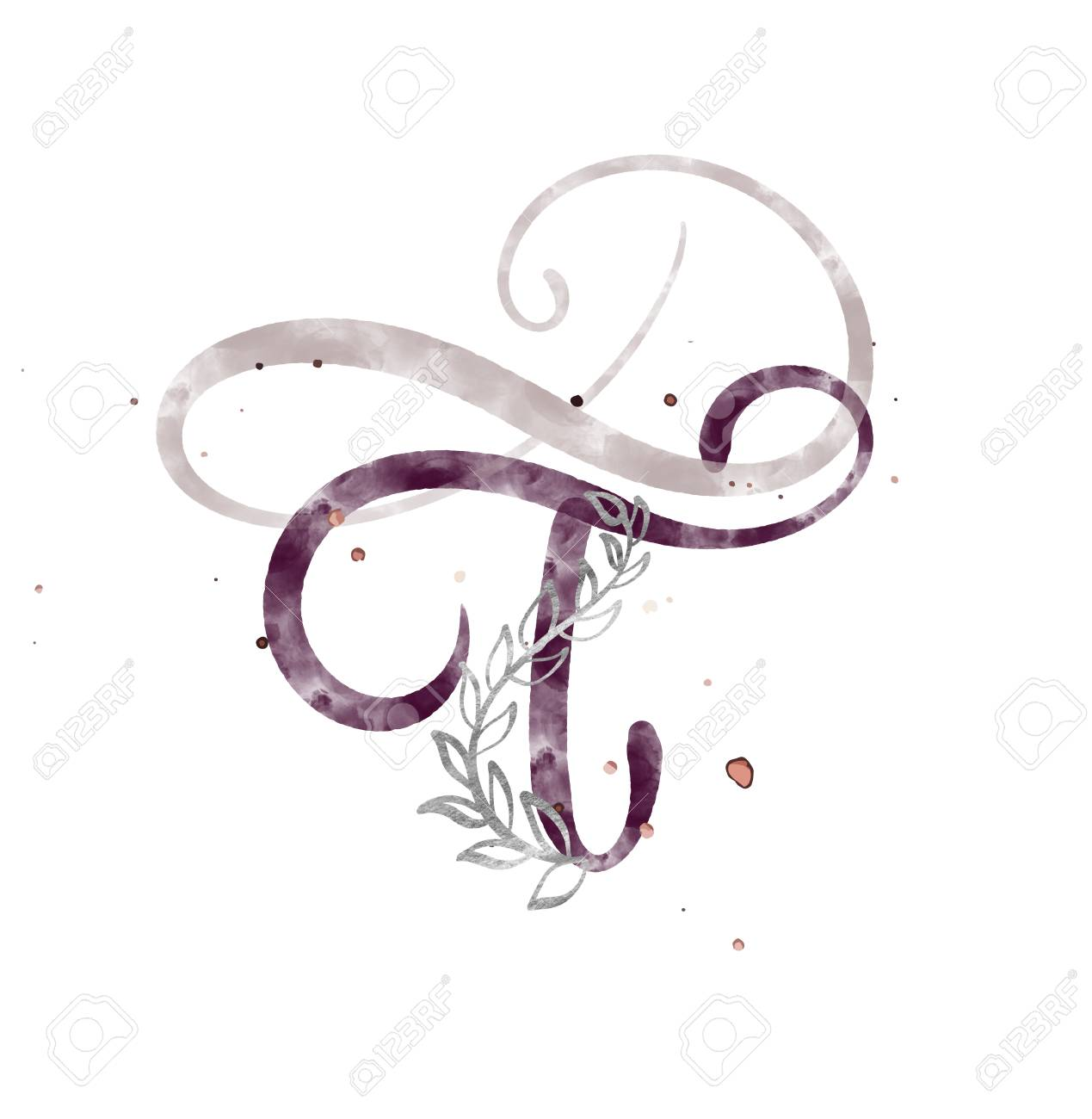 Hand Drawn Calligraphy Letter T Watercolor Script Font Isolated