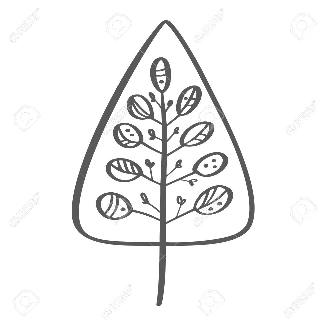 Christmas Tree Vector Icon Silhouette Simple Contour Symbol