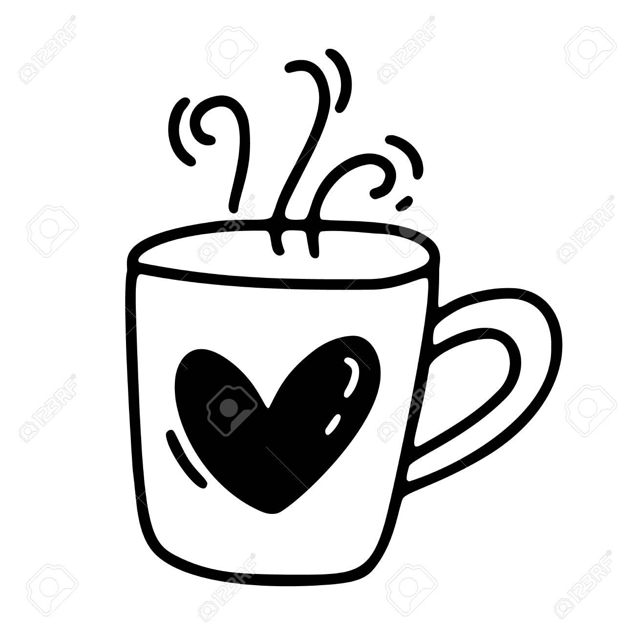 Vector Monoline Cute Cup Of Coffee With Heart Valentines Day Royalty Free Cliparts Vectors And Stock Illustration Image 114239057