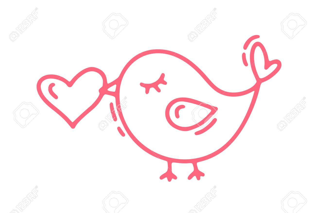 Red Monoline Cute Bird With Heart Vector Valentines Day Hand