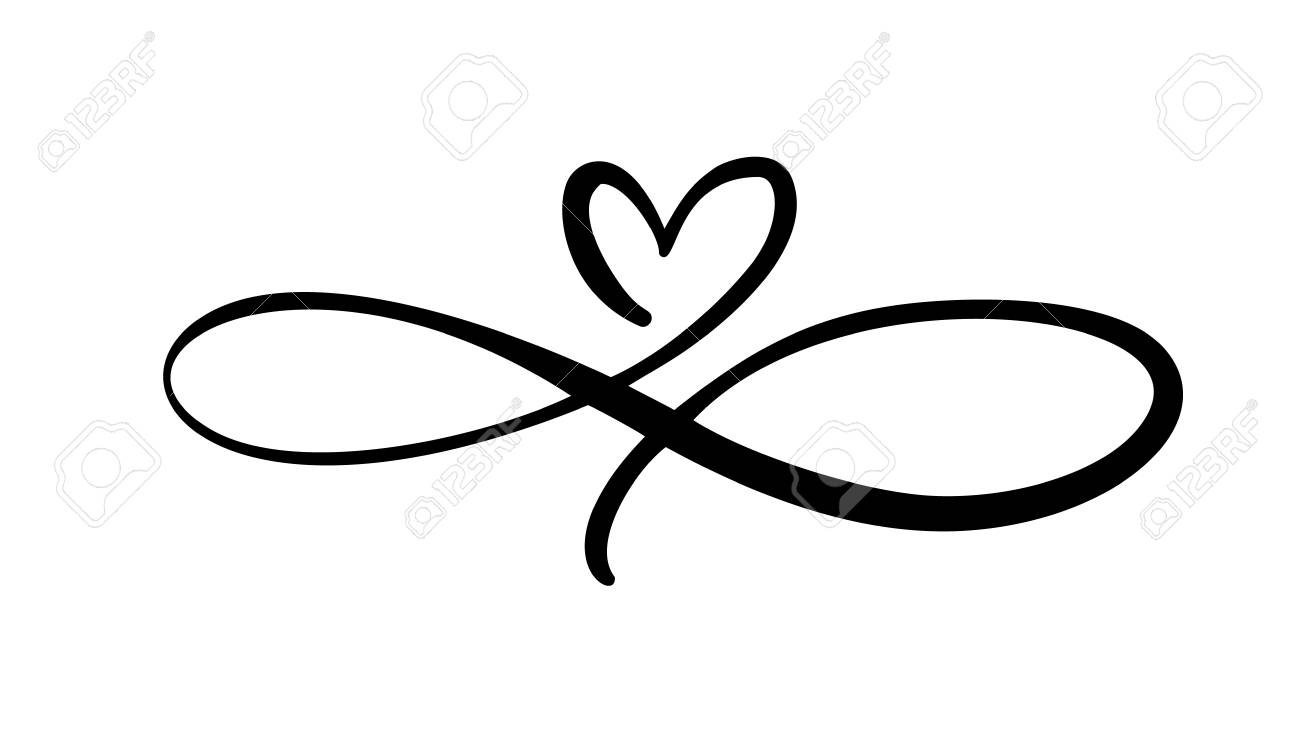 Love The Sign.Love Heart In The Sign Of Infinity Sign On Postcard To Valentines