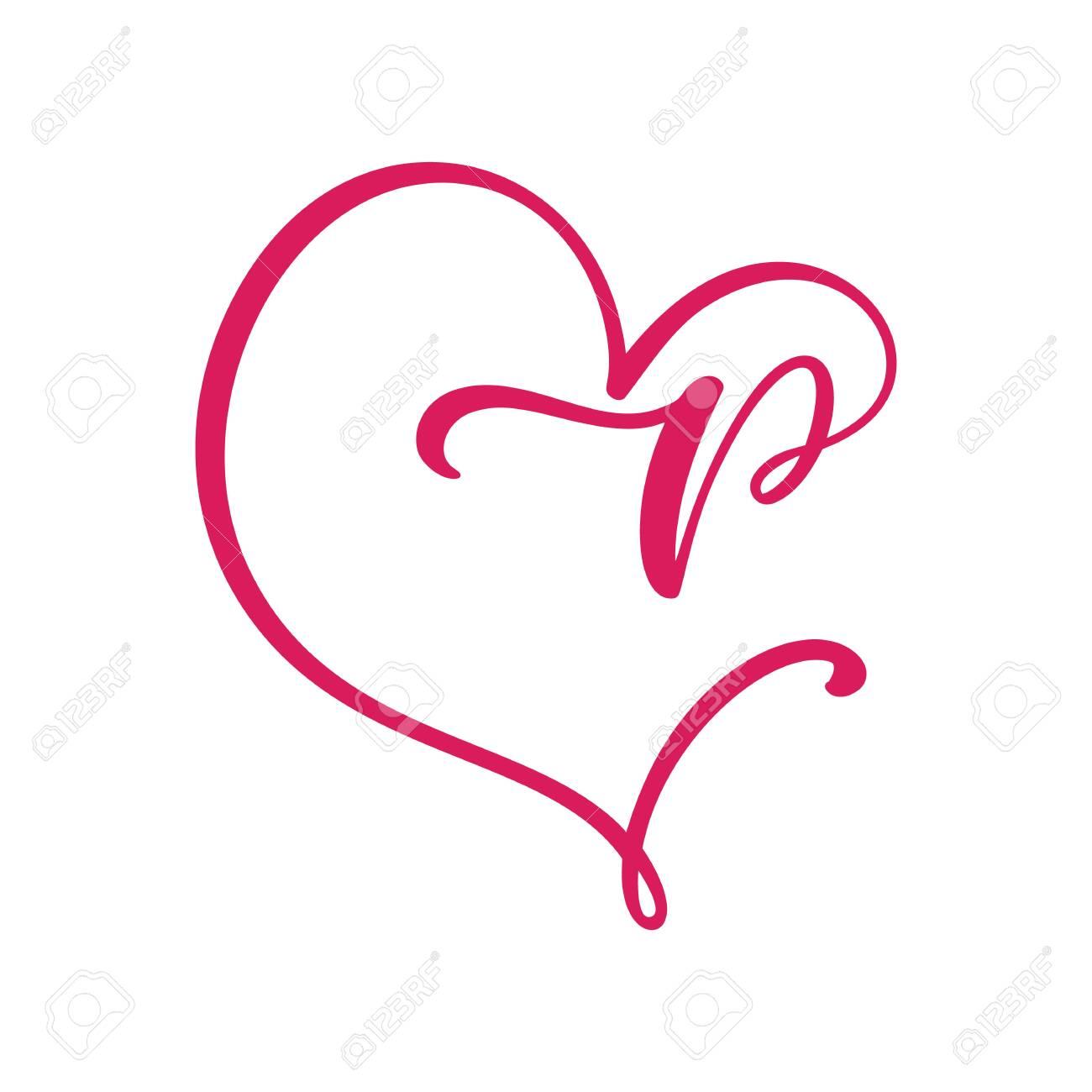 Vector Vintage floral monogram letter P. Calligraphy element Valentine flourish frame. Hand drawn heart sign for page decoration and design illustration. Love wedding card or invitation - 137934251