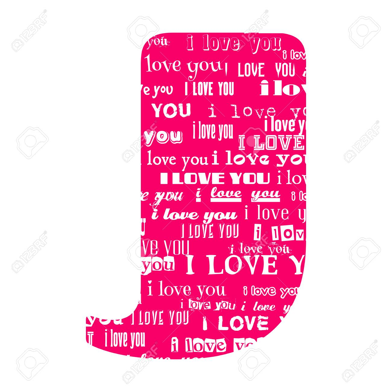 Romantic Decorative Vector Pink Letter Filled White Words I Love You Stock Vector