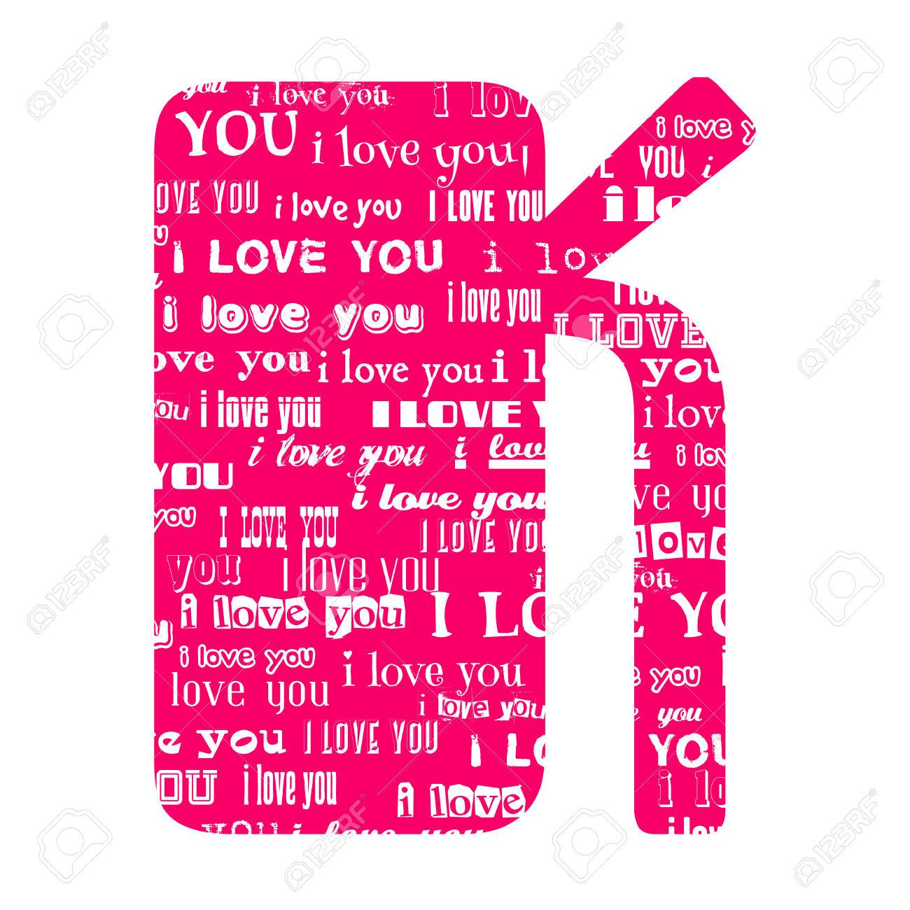 Romantic Decorative Vector Pink Letter Filled White Words I Love