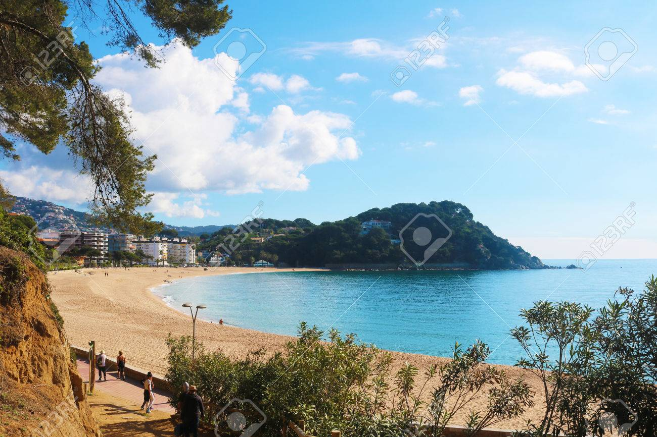 lloret de mar Spanish coast line trees and clouds Stock Photo - 80056165