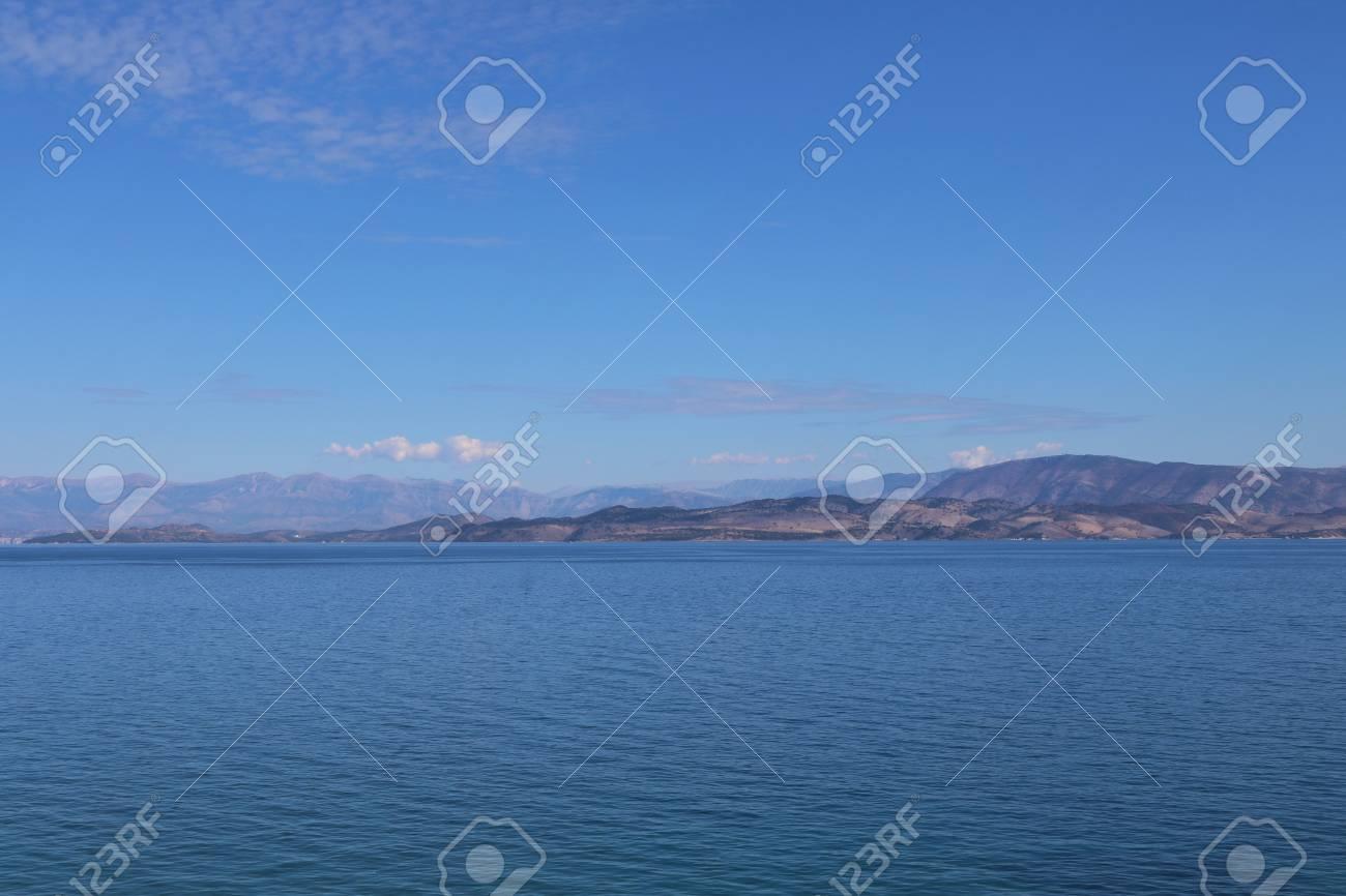 Greece Corfu ocean mountain view Stock Photo - 89907150