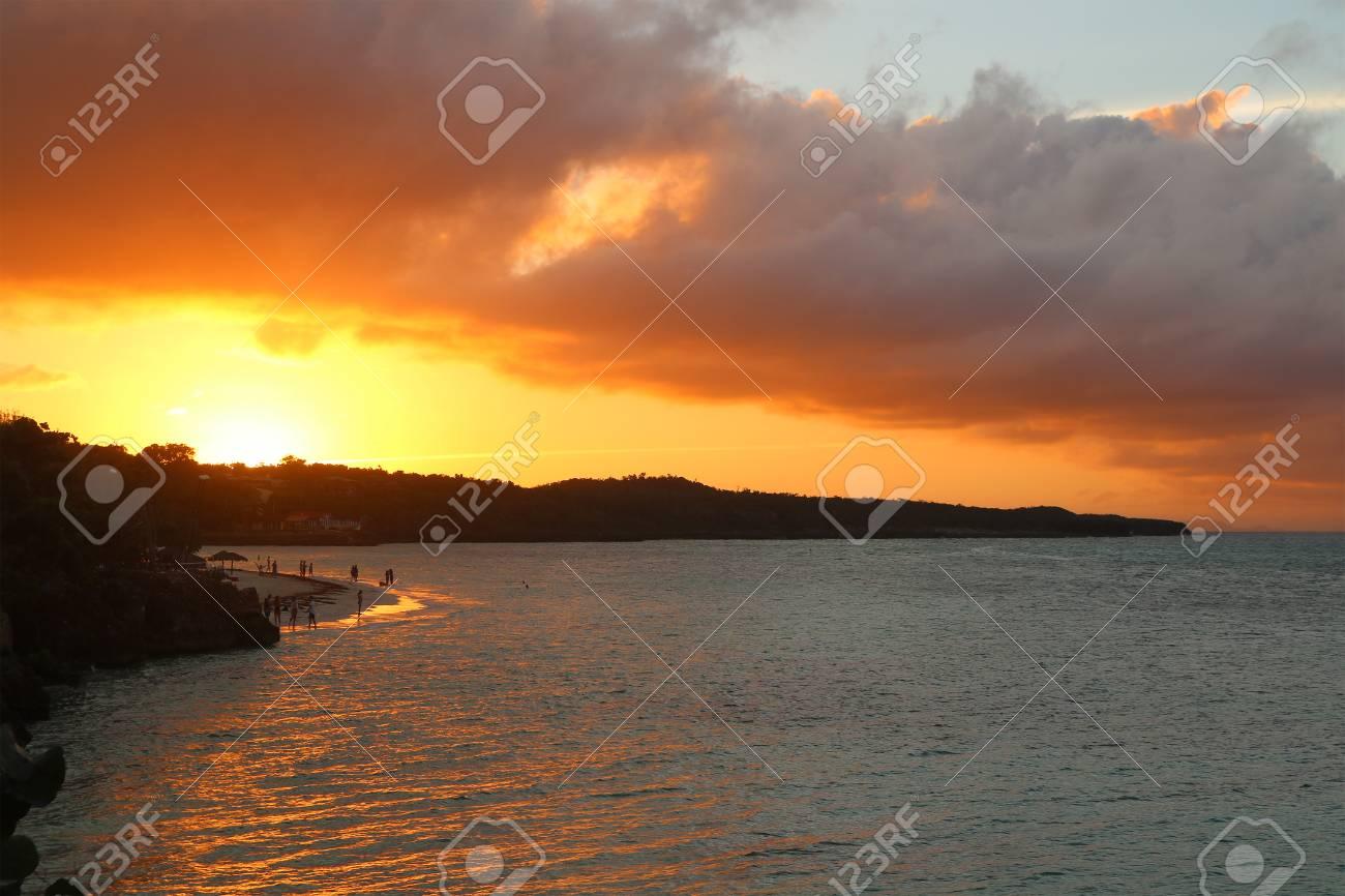 Sun set in Cuba Holguin Guardalavaca Beach Stock Photo - 92366180