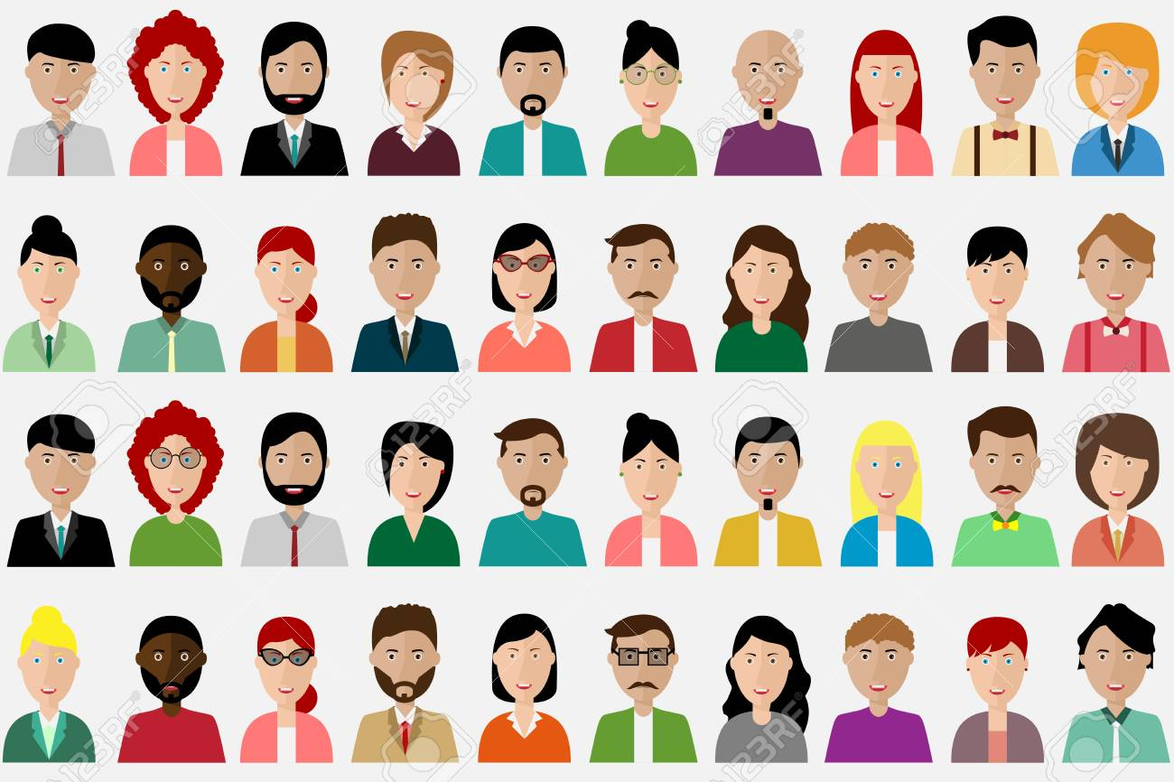 Group of people diversity, man and women avatar icon. People icon set. Vector illustration of flat design people characters. - 95888134