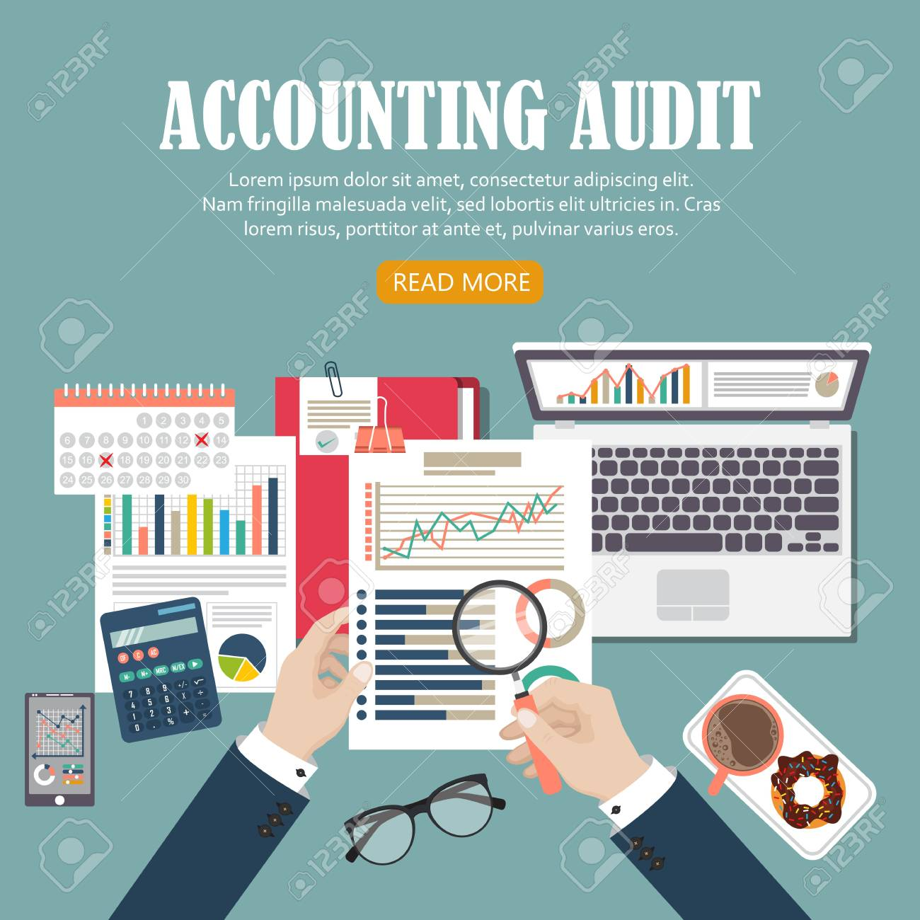 Auditing concept vector illustration. Tax process. Business background. Flat design of analysis, data, accounting, planning, management, research, calculation, reporting, project management. - 121529244
