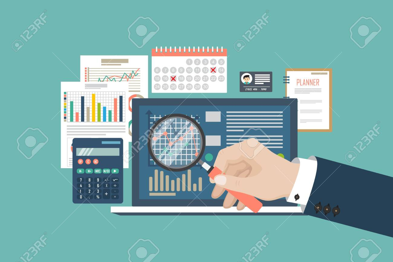 Auditing concept vector illustration. Tax process. Business background. Flat design of analysis, data, accounting, planning, management, research, calculation, reporting, project management. - 121529477