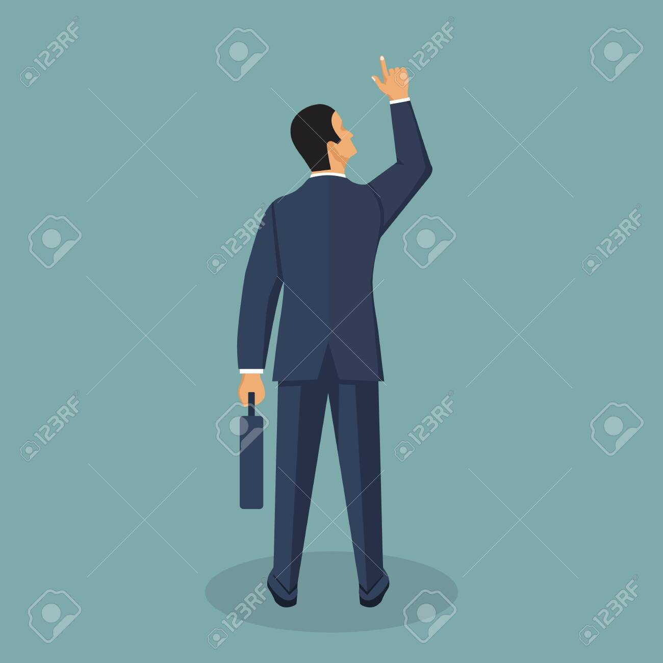 Businessman vector illustration in flat style. Male cartoon character in a business suit. - 121529604