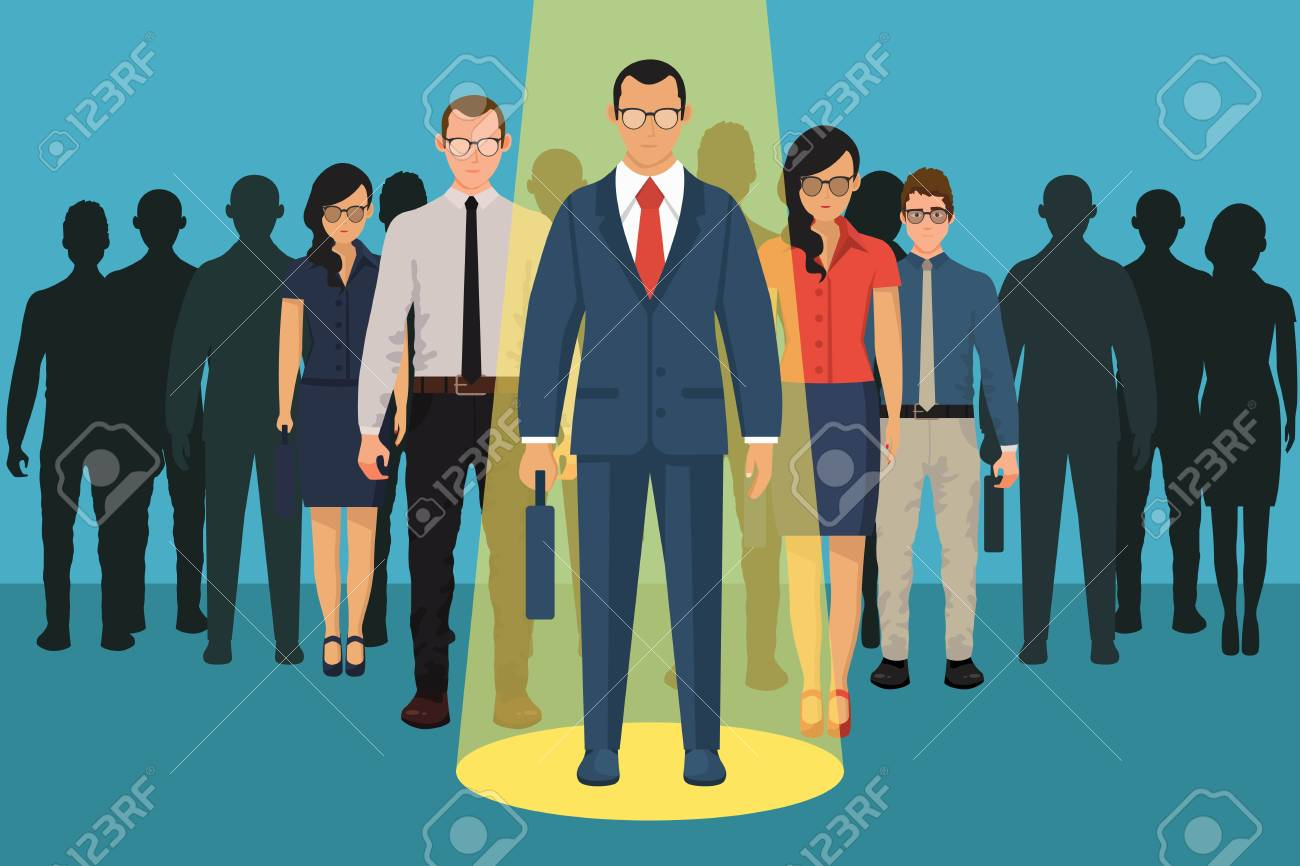 Chosing person for hiring. Vacant concept. Human and recruitment, select people, resource and recruit. Vector illustration in flat design. - 121529265