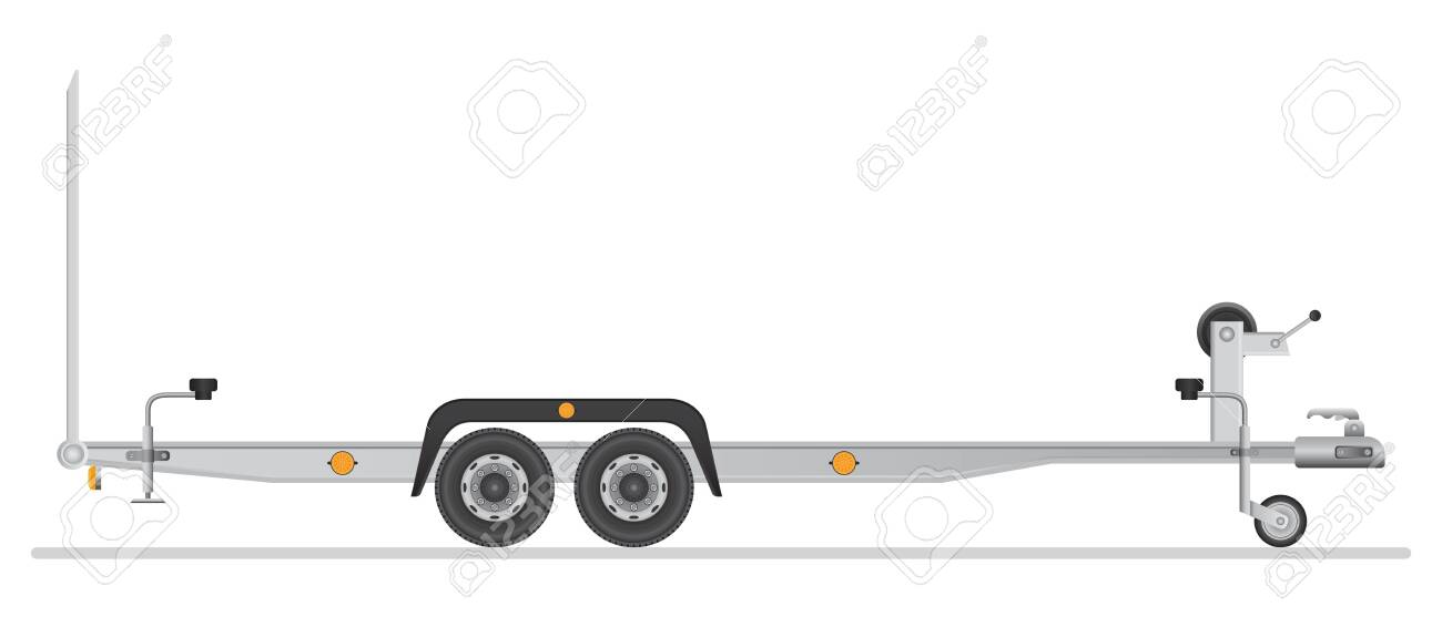 Car trailer for vehicle transportation. Vector illustration isolated on white background. - 122163007