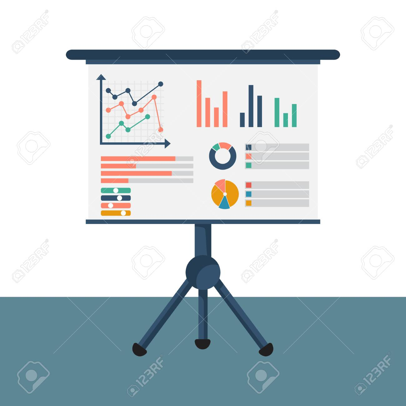 Financial consultant concept. Reasearch graph amrket, charts financial reports, diagrams. Accountant organization process. Vector illustration - 122163497