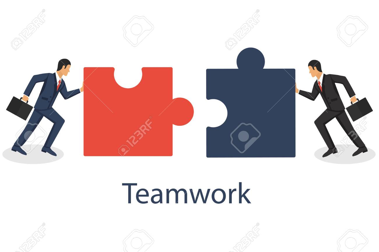 Business concept. Two businessmen conencting puzzle elements. Combining two pieces. Working togather, partenership, cooperation. Vector illustration in flat design. - 122163966