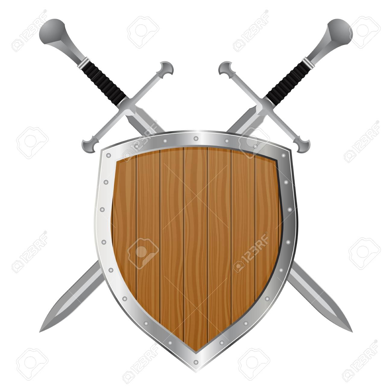 Medieval sword and shield vector illustration isolated on white background - 122876138