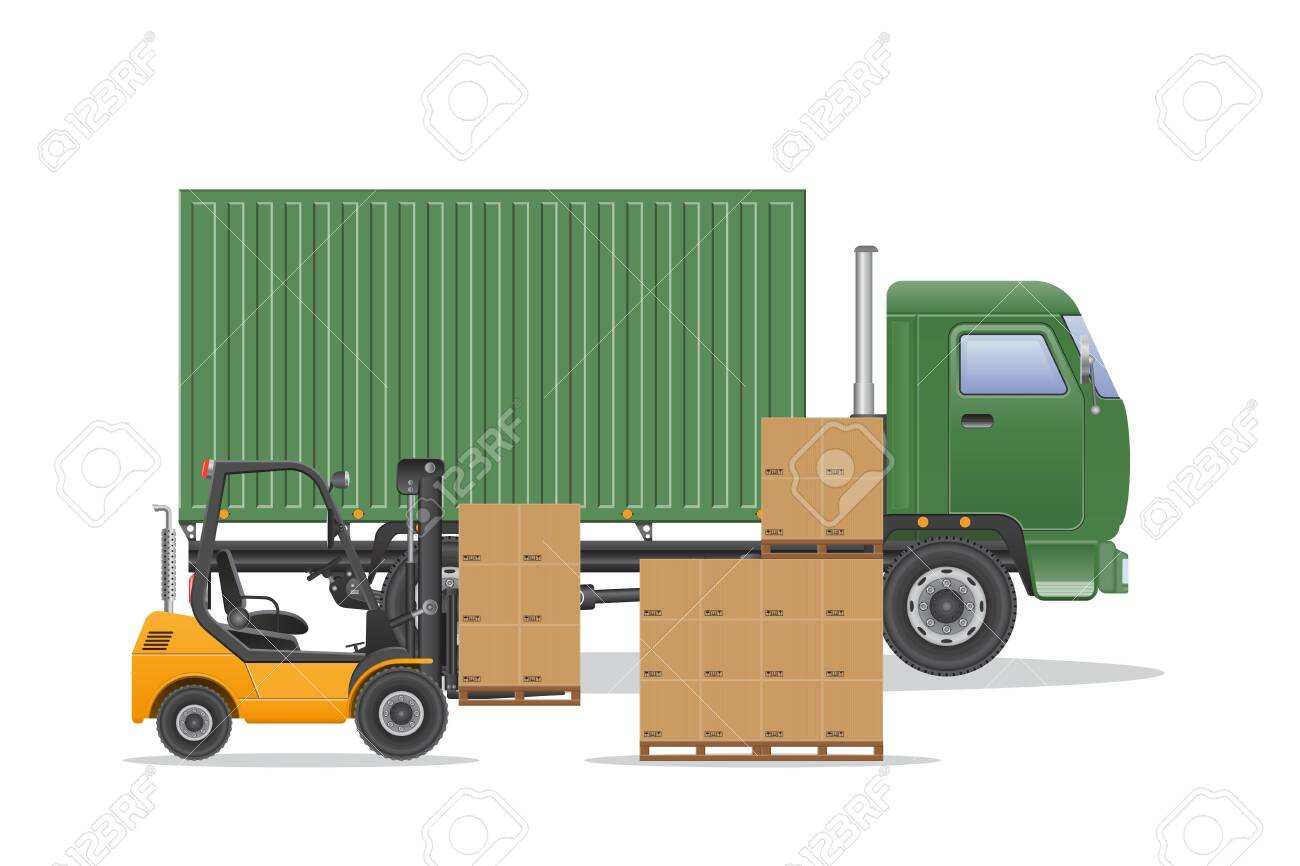 Cargo truck delivery vector illustration. - 143714429