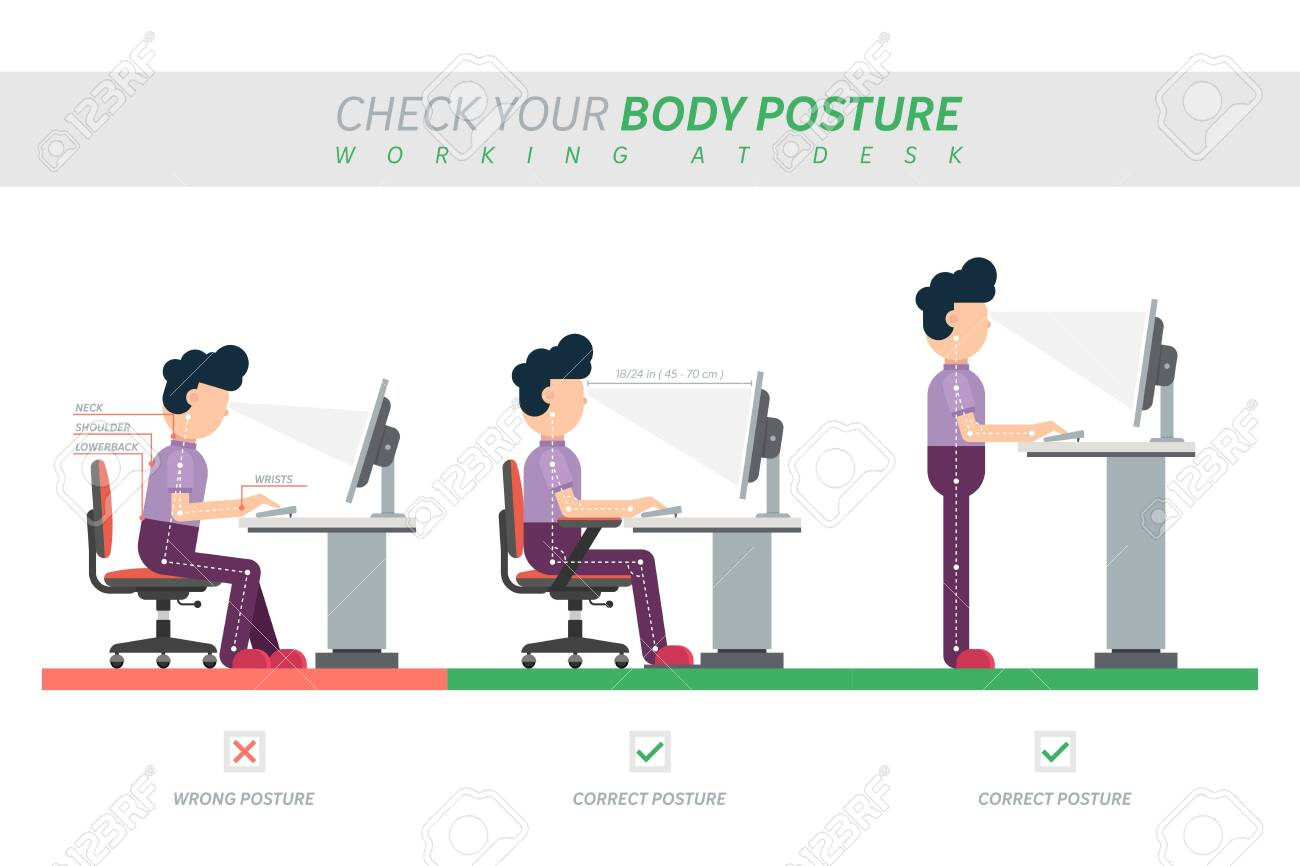 Ergonomic posture of sitting at desk flat vector illustration - 154382292