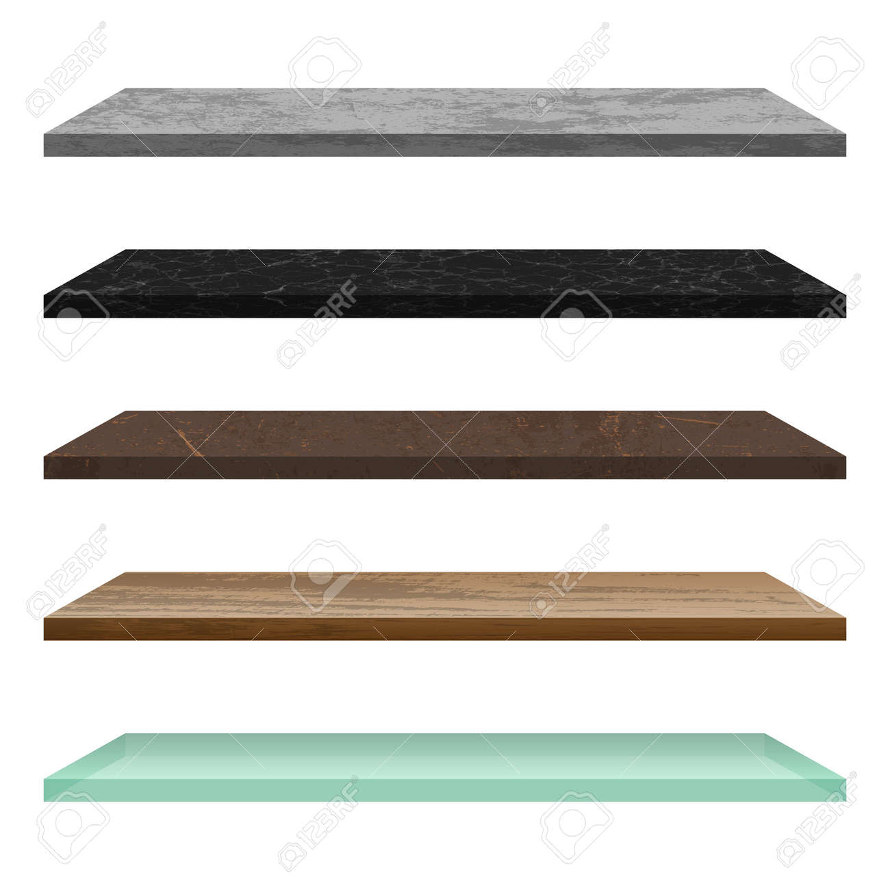 Empty shelf made of different materials - 157326954