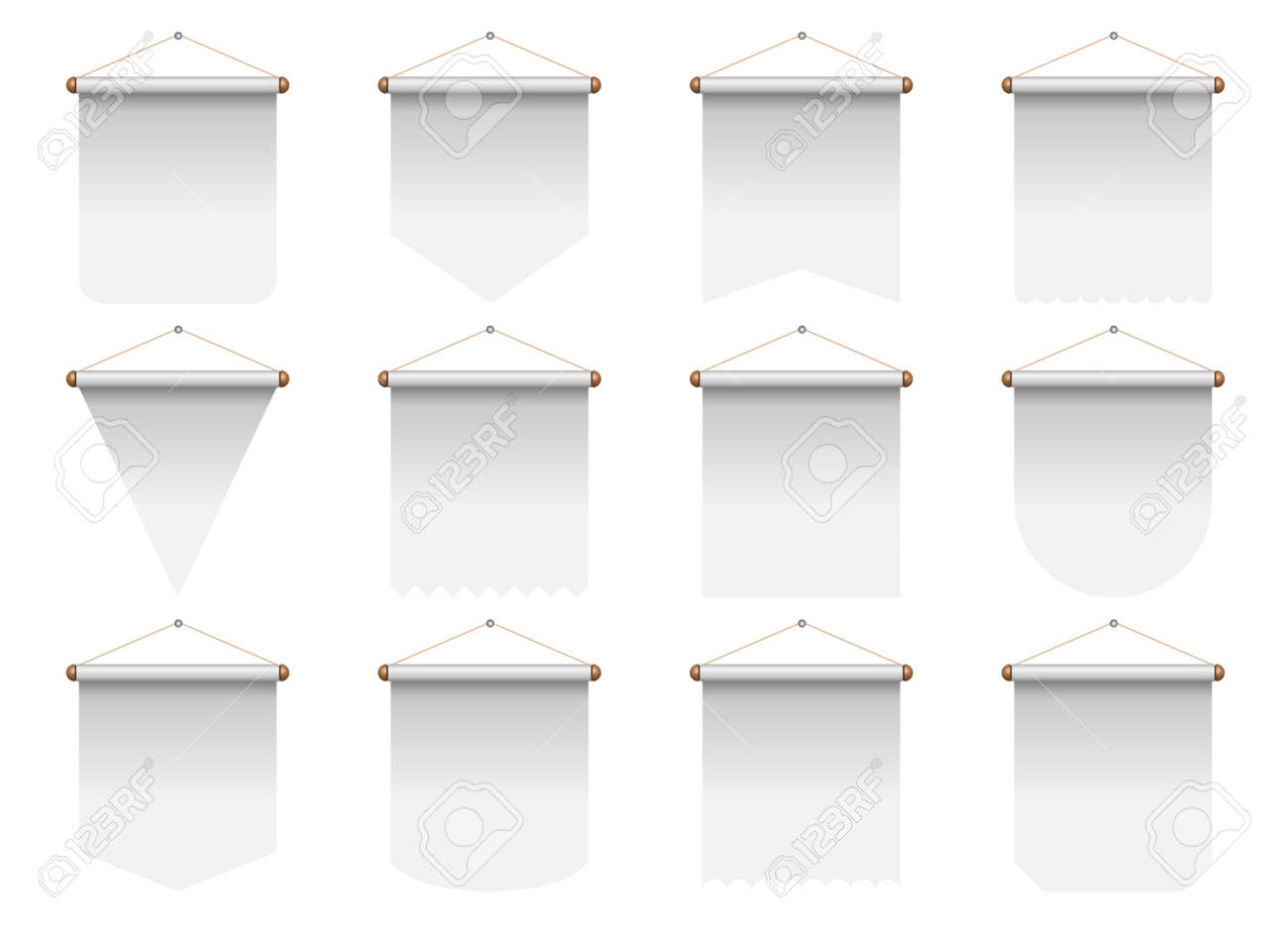 Set of realistic pennant vector illustration - 169548338