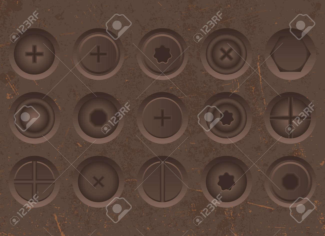 Set of realistic iron screws vector illustration - 169548345