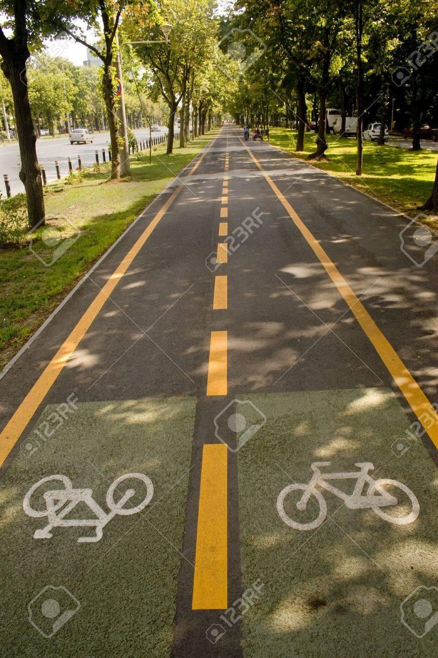 City bike lane along shady wooden street Stock Photo - 3678290
