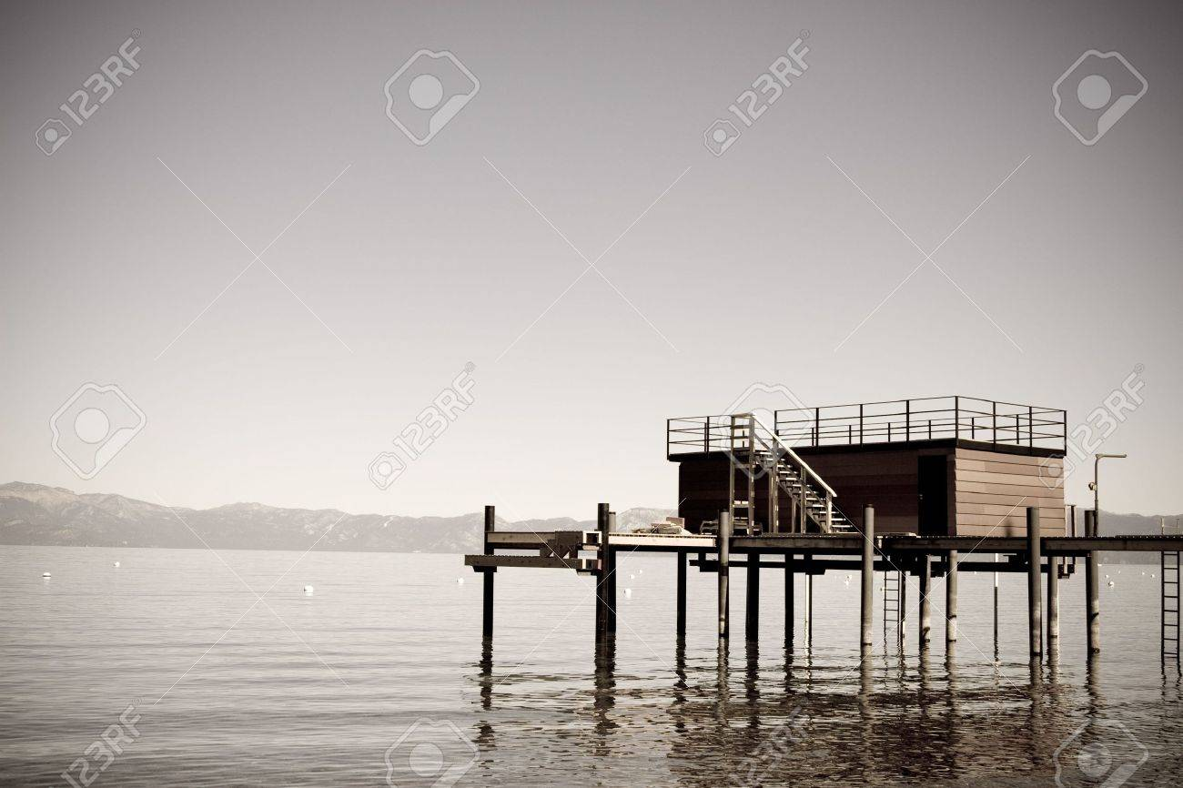 Faded image of dock on mountain lake Stock Photo - 3934517