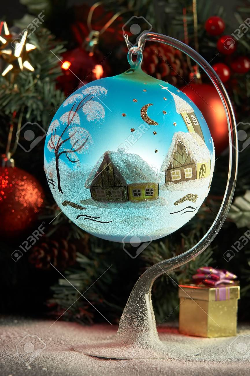 Blue ball in front of fir tree Stock Photo - 3904073