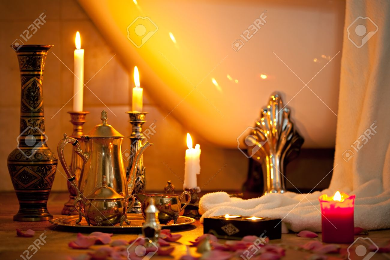 Still Life With Candles In The Retro Bathroom Stock Photo Picture - Candles for bathroom
