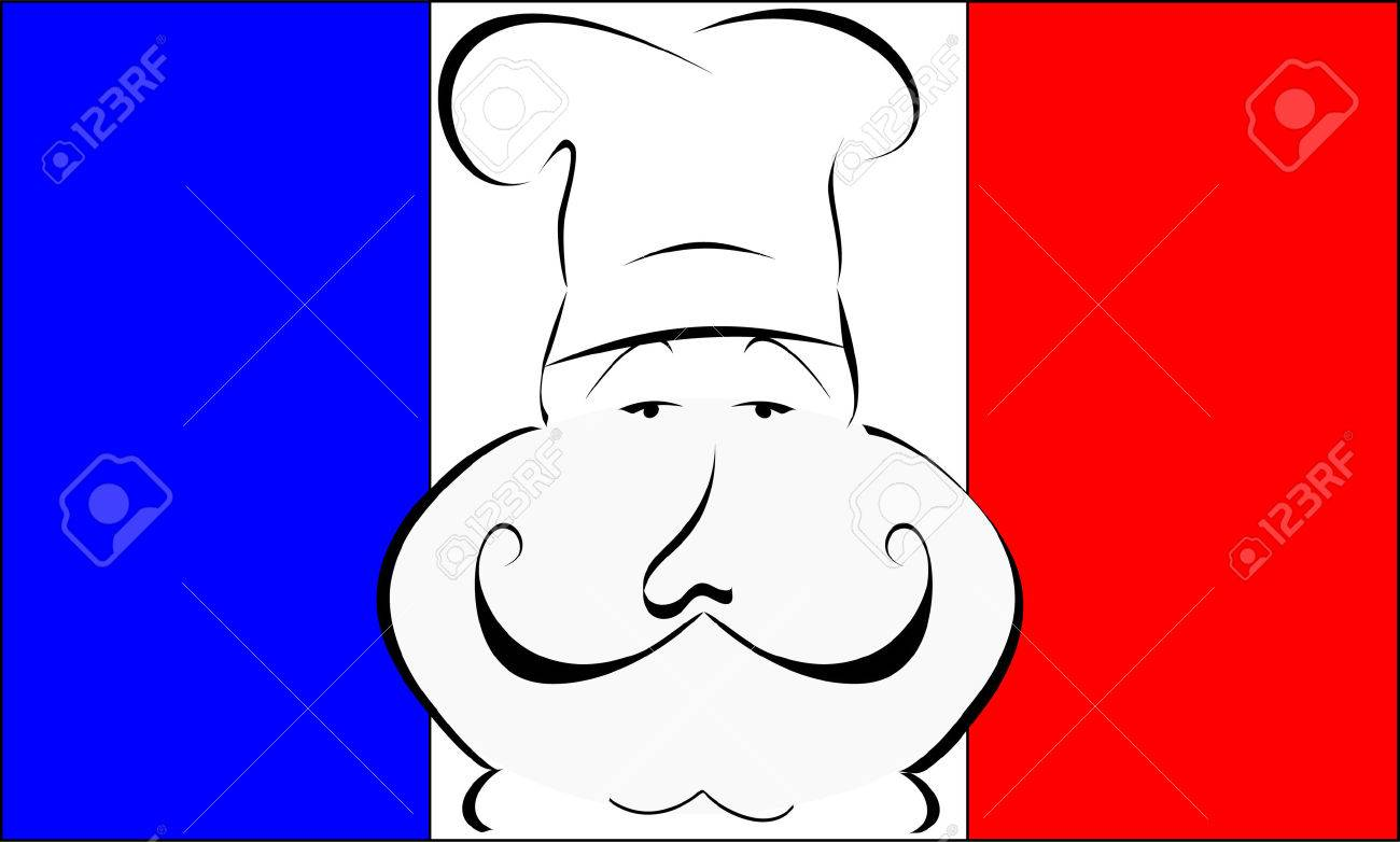 stylized or abstract Chef with hat in front of a French flag Stock Vector - 2629453