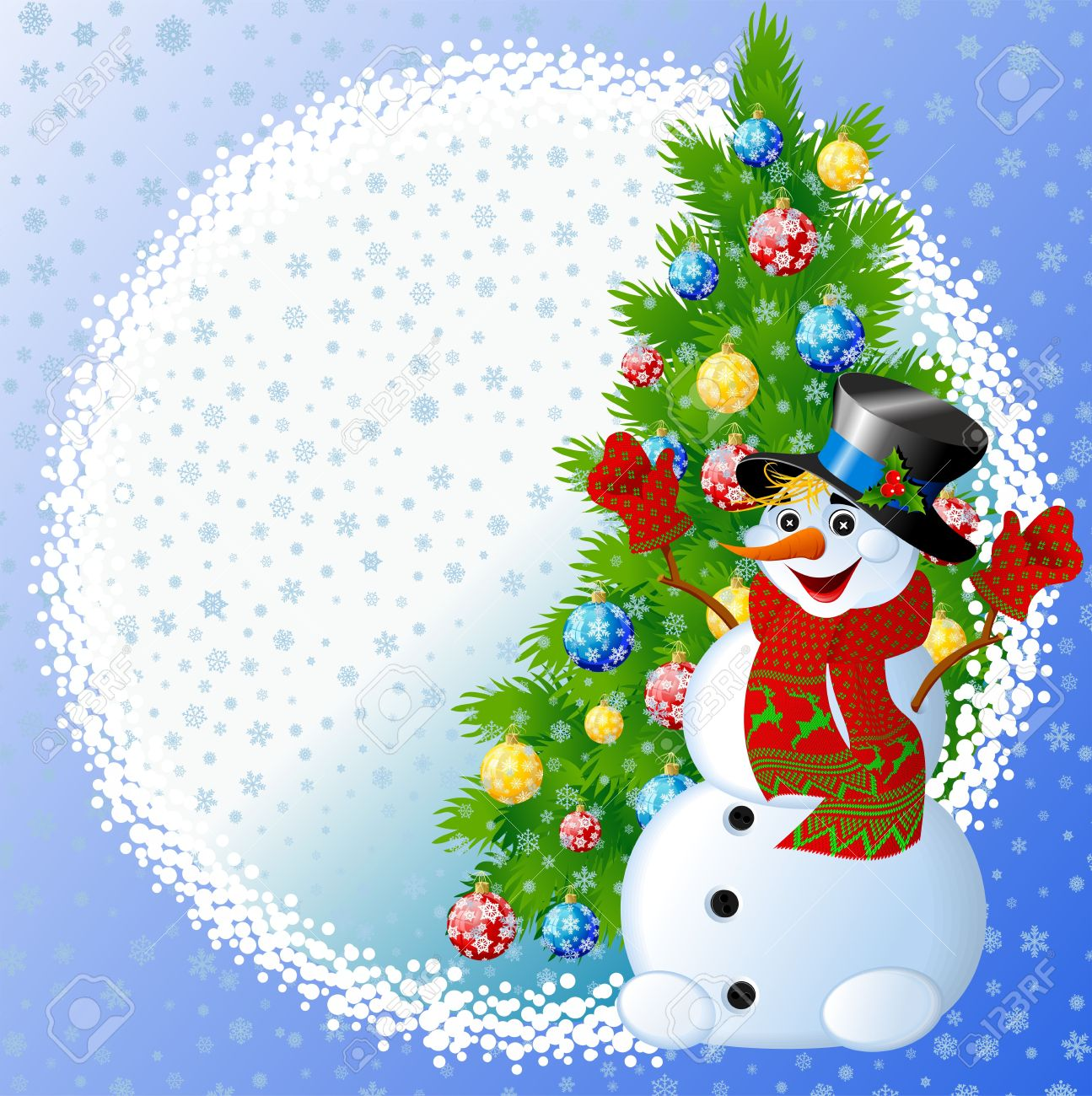 Snowman With Christmas Tree Stock Photo, Picture And Royalty Free ...