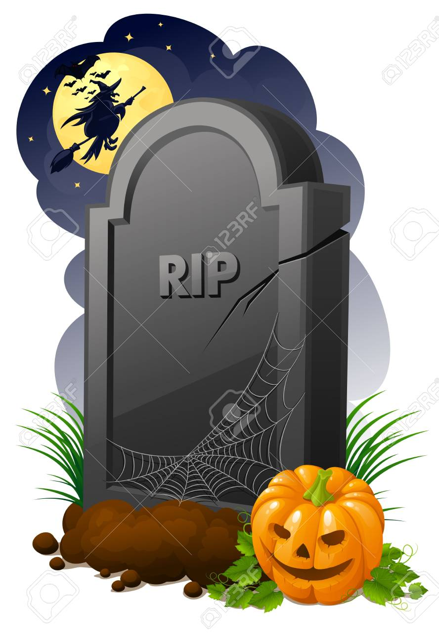 Gravestone with pumpkin and witch Stock Photo - 3642530