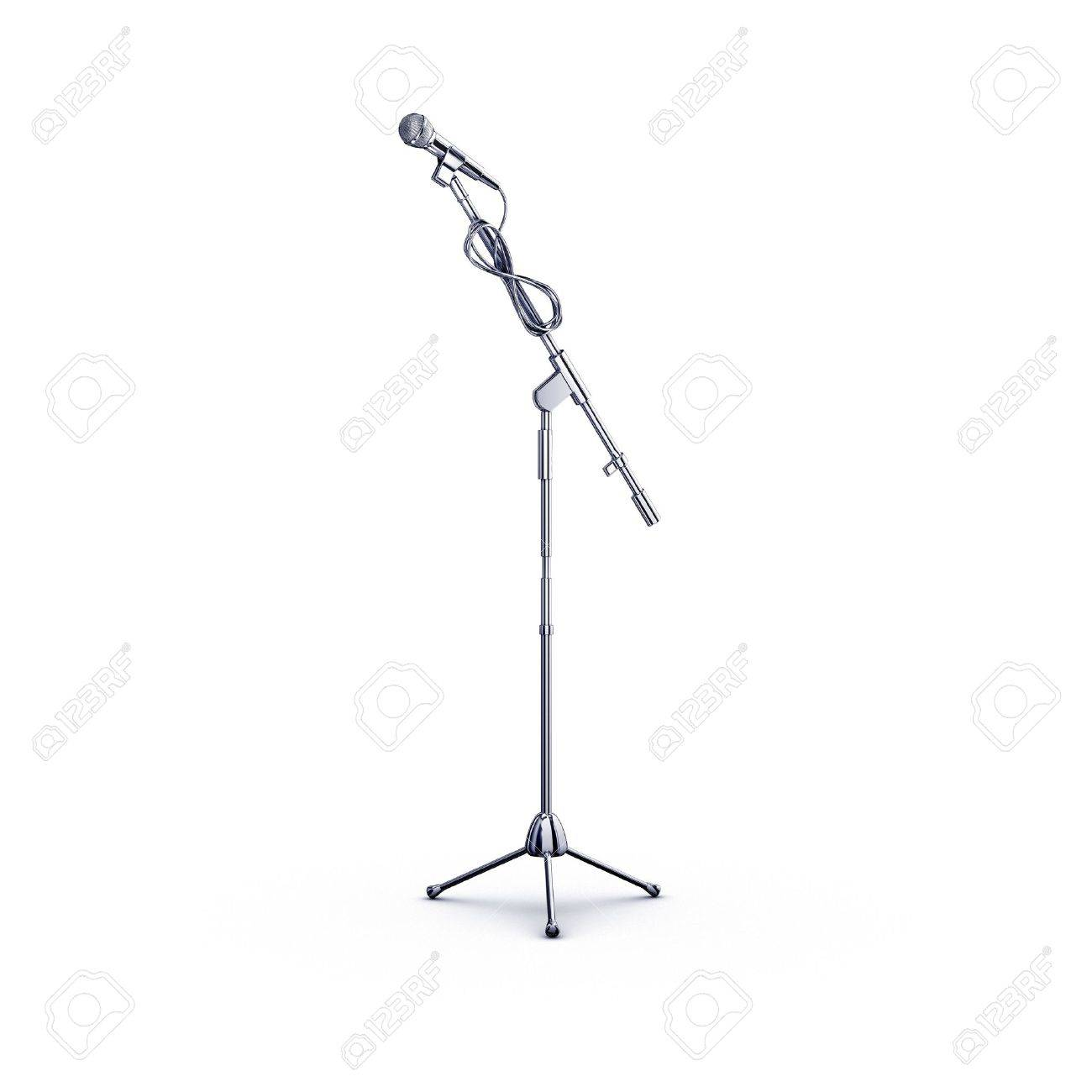 metal chrome microphone stand on white Stock Photo - 3105864
