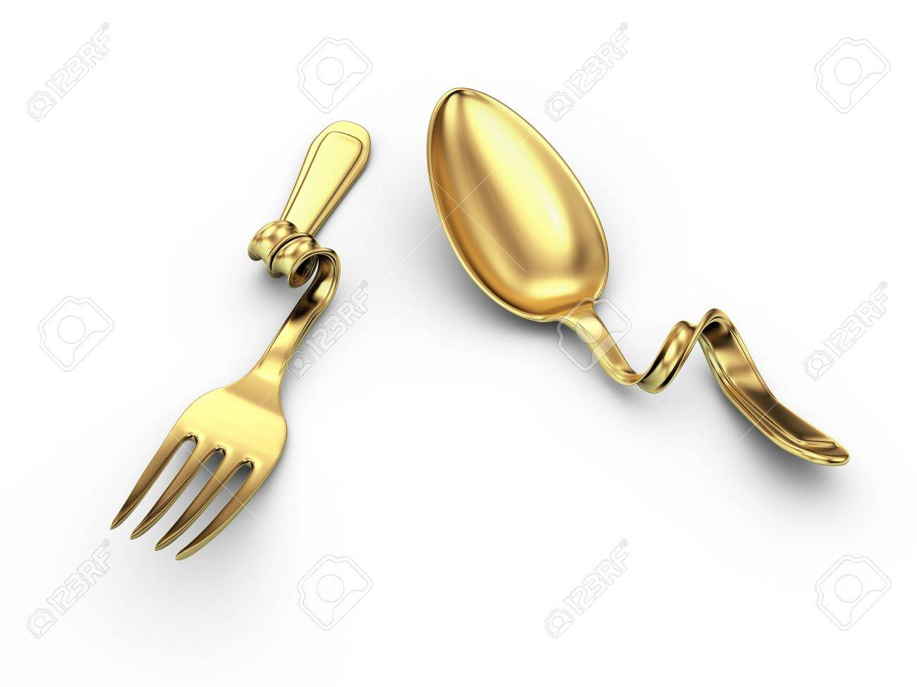 Breakage Gold Kitchenware On White Stock Photo, Picture And Royalty ...