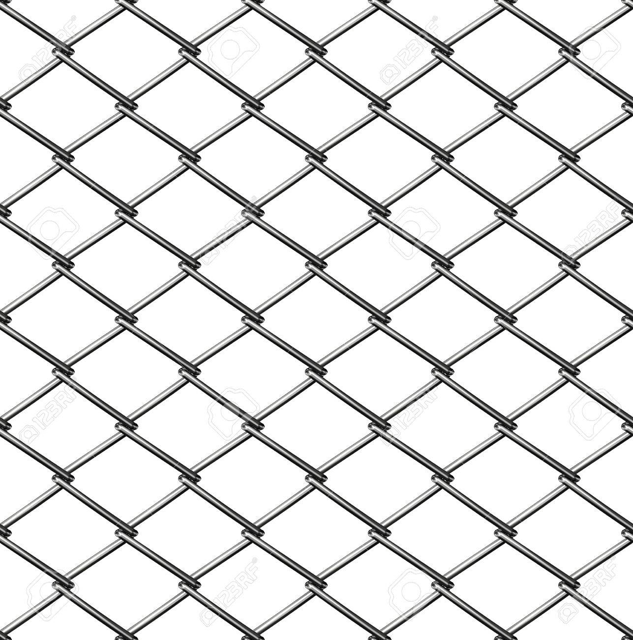 chainlink fence seamless on white Stock Photo - 7624853
