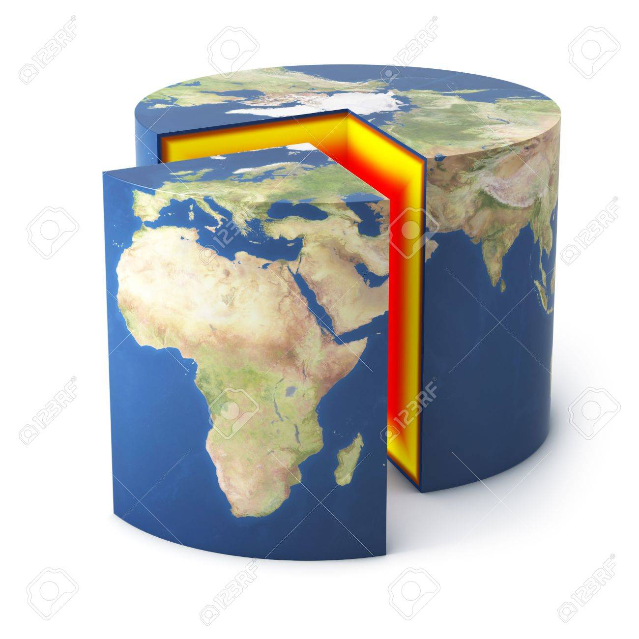 Earth cylinder shape in section isolated Stock Photo - 7624855