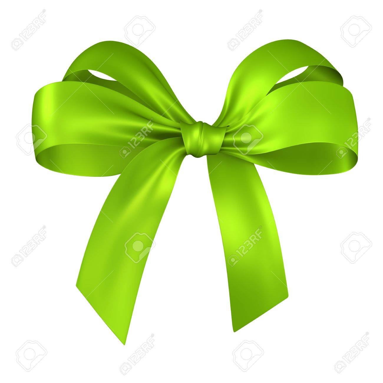 green ribbon bow isolated on white Stock Photo - 9553440