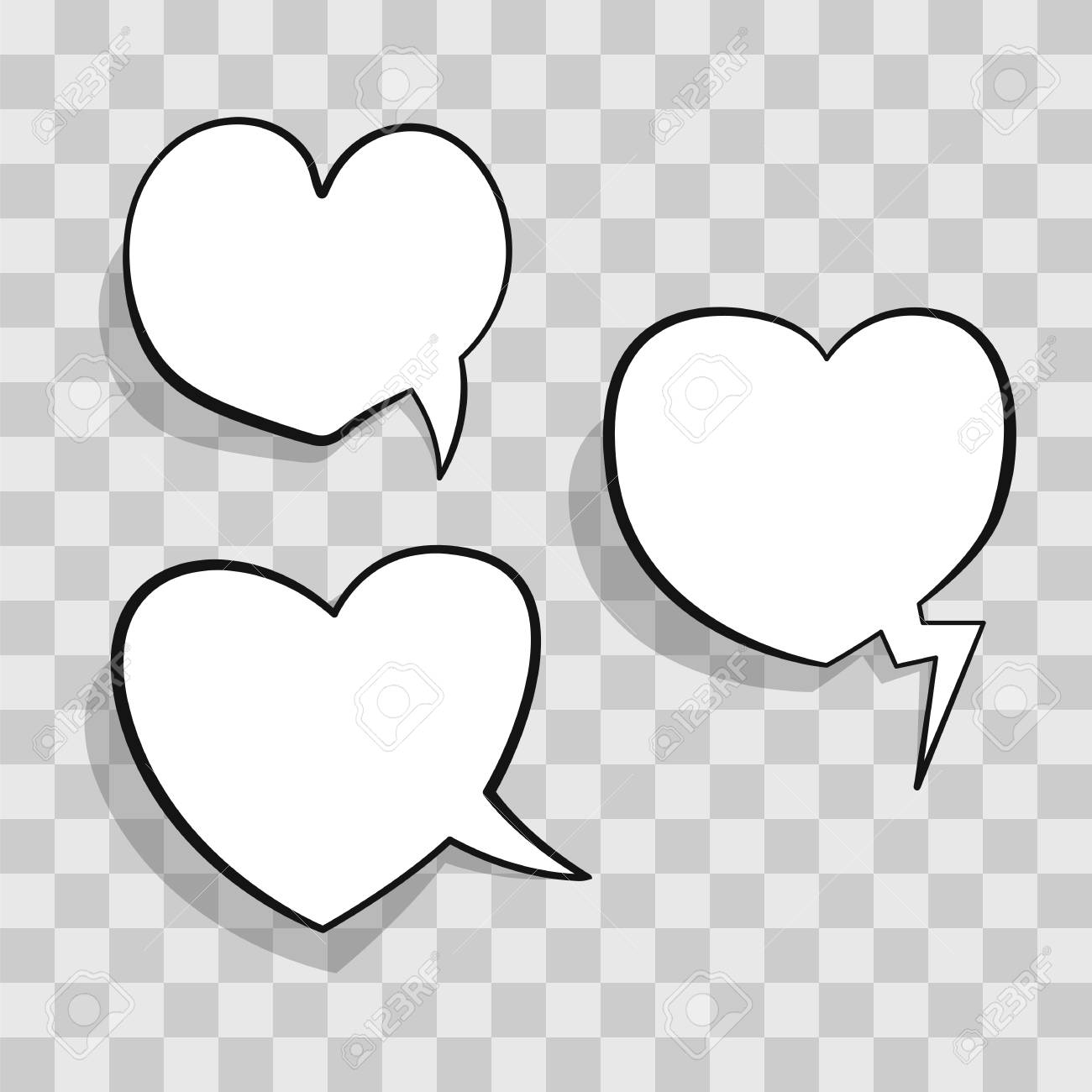 White Speech Bubble In Heart Shape For Chat In Social Networks