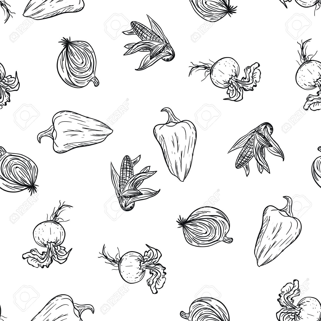Vegetable doodle pattern hand drawing on white background. Doodle drawing vegetable pattern. Ripe autumn crop and farming harvest. Market garden background. Fitness diet and healthy nutrition - 125733452