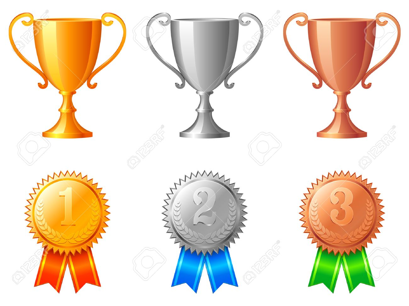 Trophy cups and medals. Stock Vector - 6368149