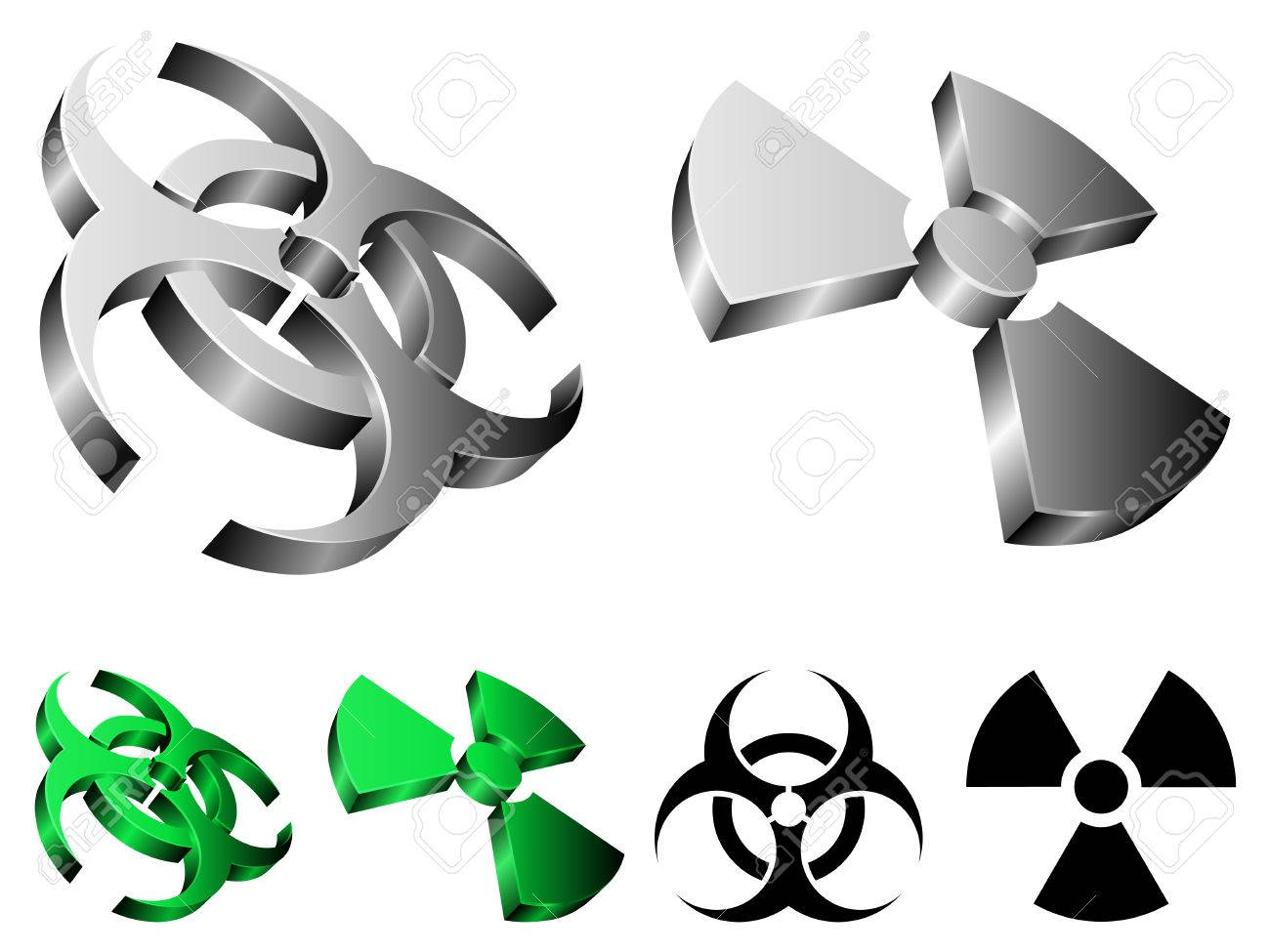 Biohazard and radiation signs. Stock Vector - 6402867