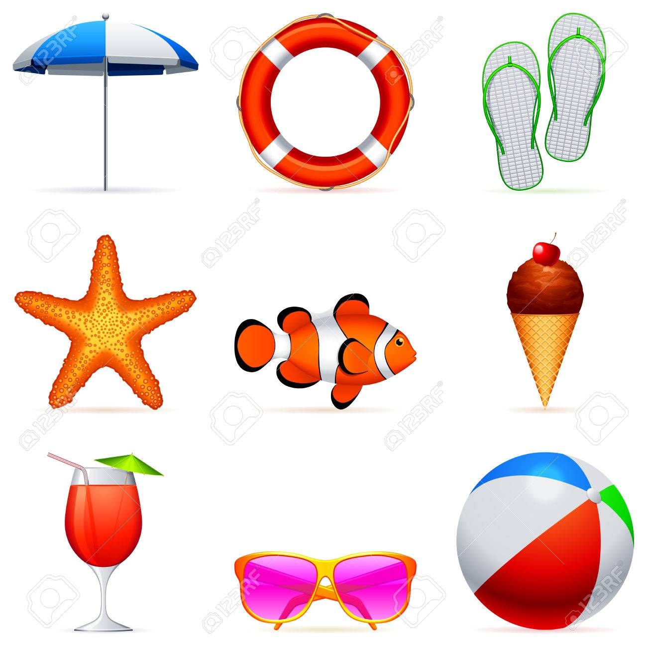 Summer vacation icons. Stock Vector - 7004891