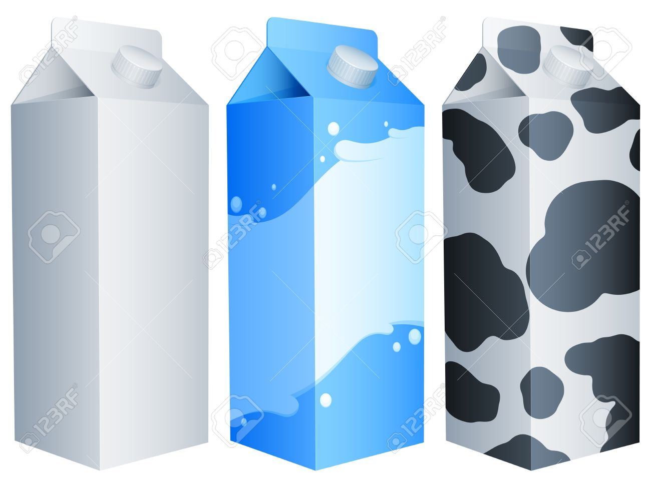 Three milk packs. Stock Vector - 10309823