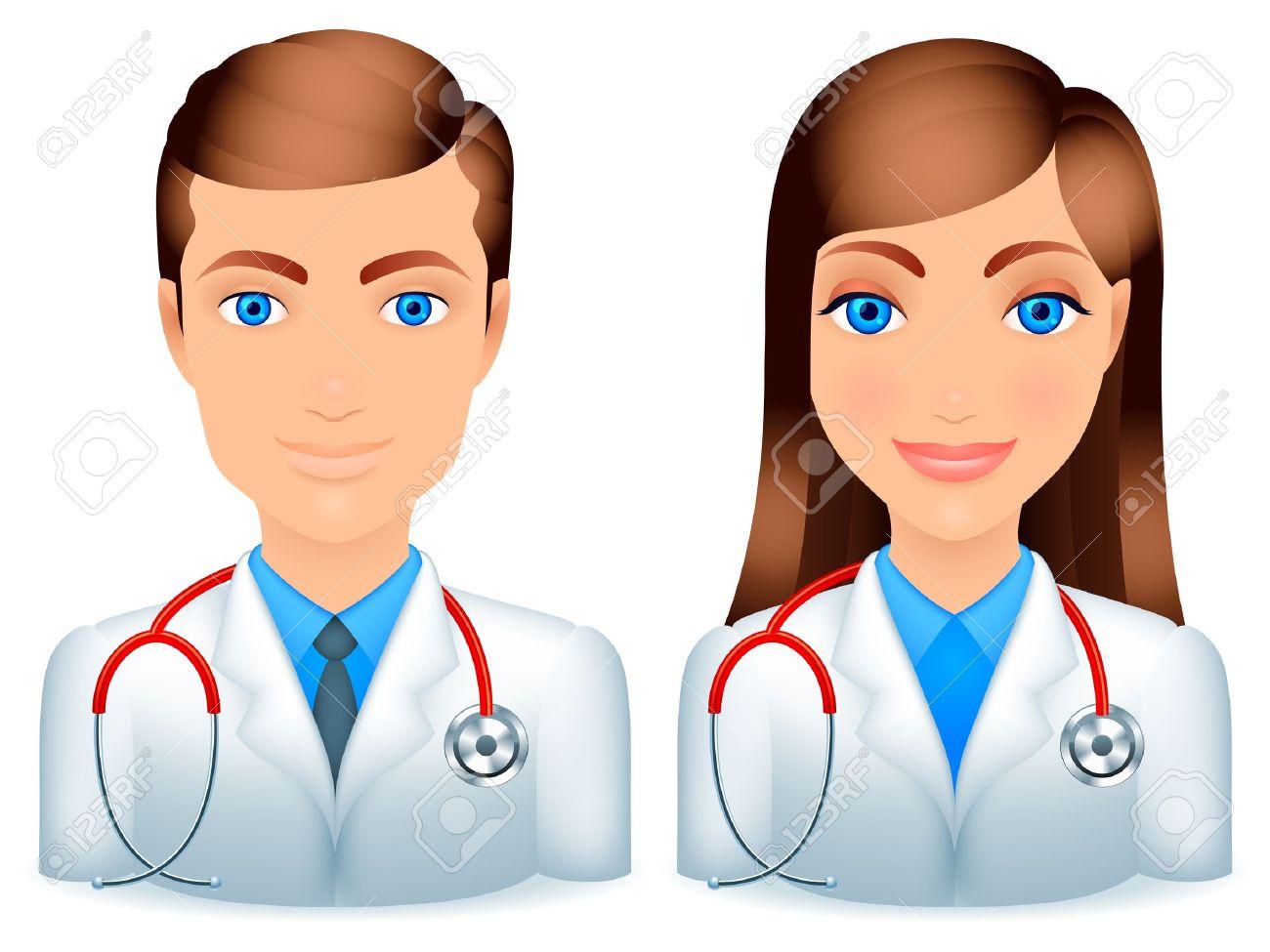 Dibujos Hombres Y Mujeres Médicos Con Estetoscopios Ilustraciones